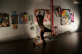 "Mac creating beutiful forms and shapes in front of the Gallery at ""Infinite Tundra//Homeshrine"""