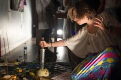 "Vesna engaging with the ""Shrine of Reitac the dead"" at ""InfiniteTundra//HomeShrine"""